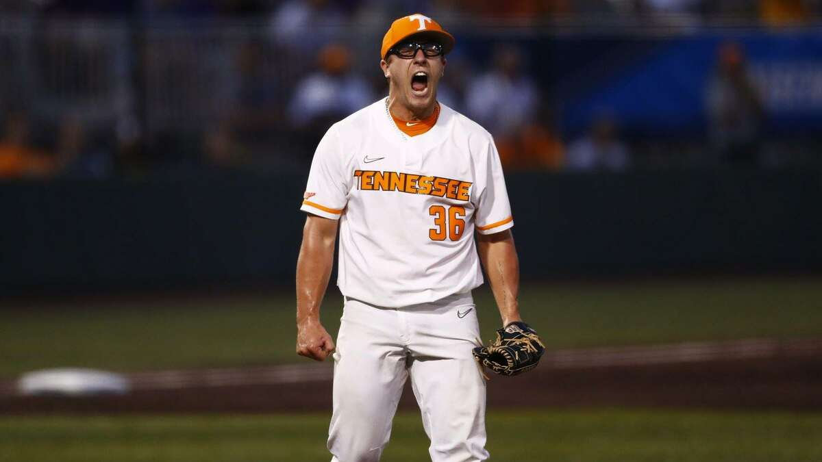 Orange native Chad Dallas celebrates while coming off the mound during Tennessee's Super Regional win over LSU on June 12, 2021 in Knoxville.