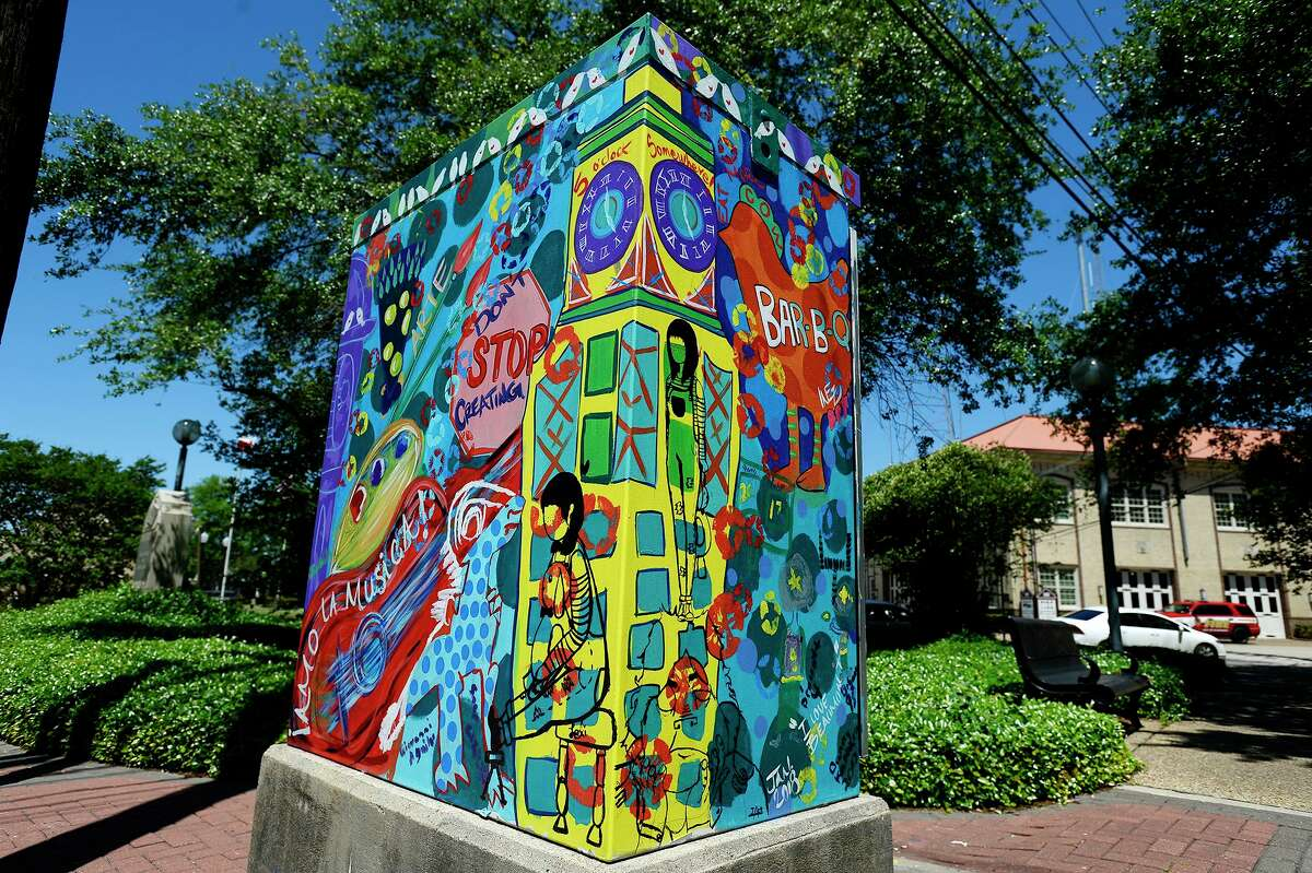 A traffic control box painted by Ines Alvidres at the corner of Main Street and Liberty Street. Photo taken Wednesday 4/11/18 Ryan Pelham/The Enterprise