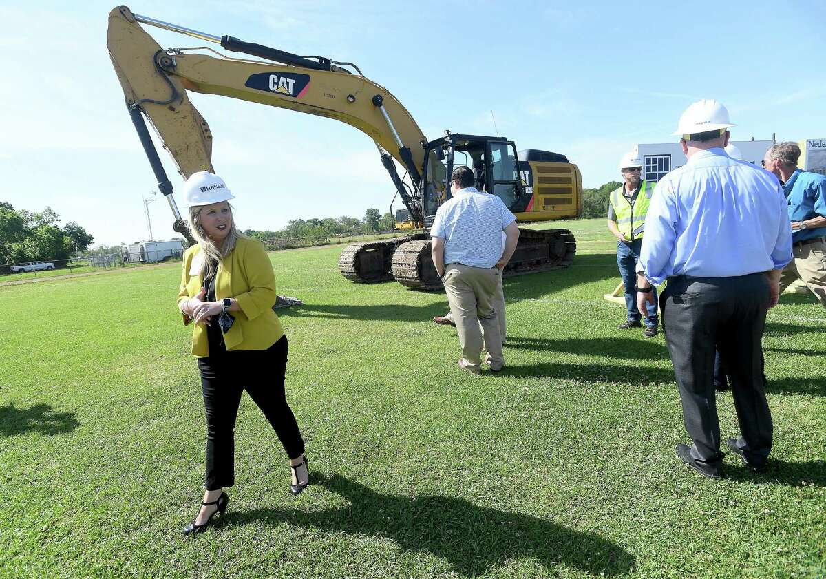 Nederland school board members gathered with Mayor Don Albanese, Principal Natalie Gomez and others for a groundbreaking ceremony Monday as work for the new high school begins. Photo made Monday, April 12, 2021 Kim Brent/The Enterprise