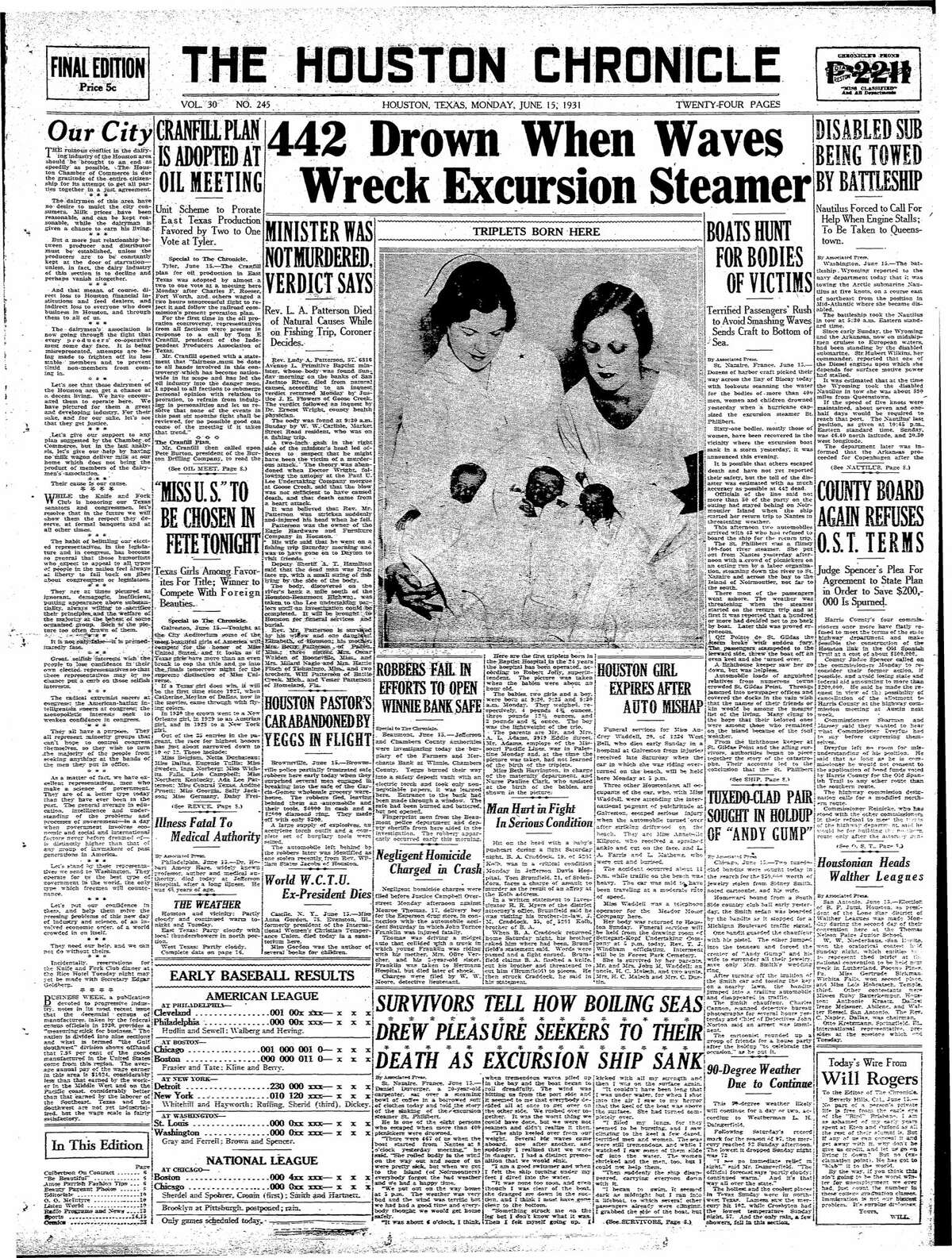 Houston Chronicle front page from June 15, 1931.