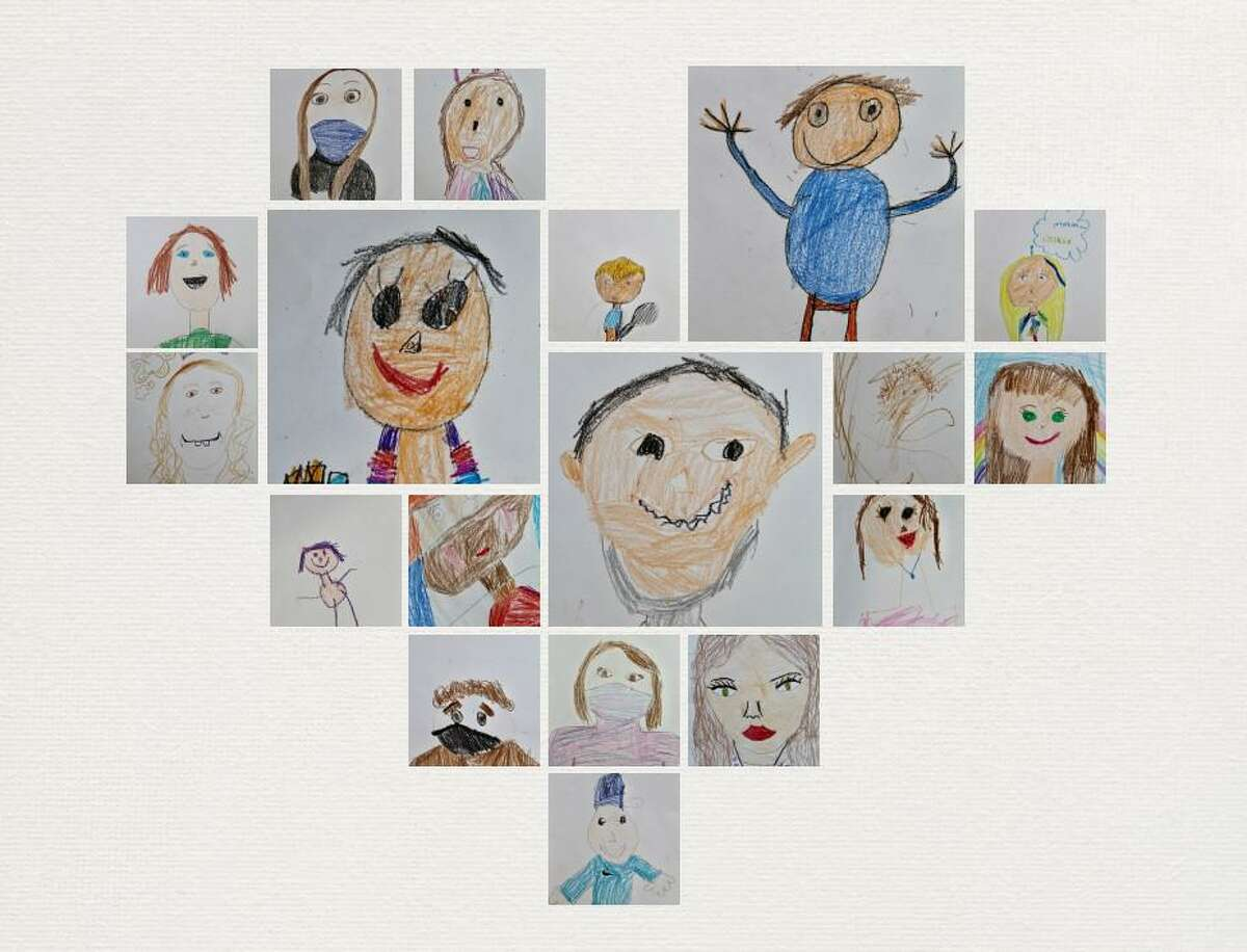 A heart of self-portraits were created by children at a portrait party organized by the Guilford Lakes ABAR Committee recently.