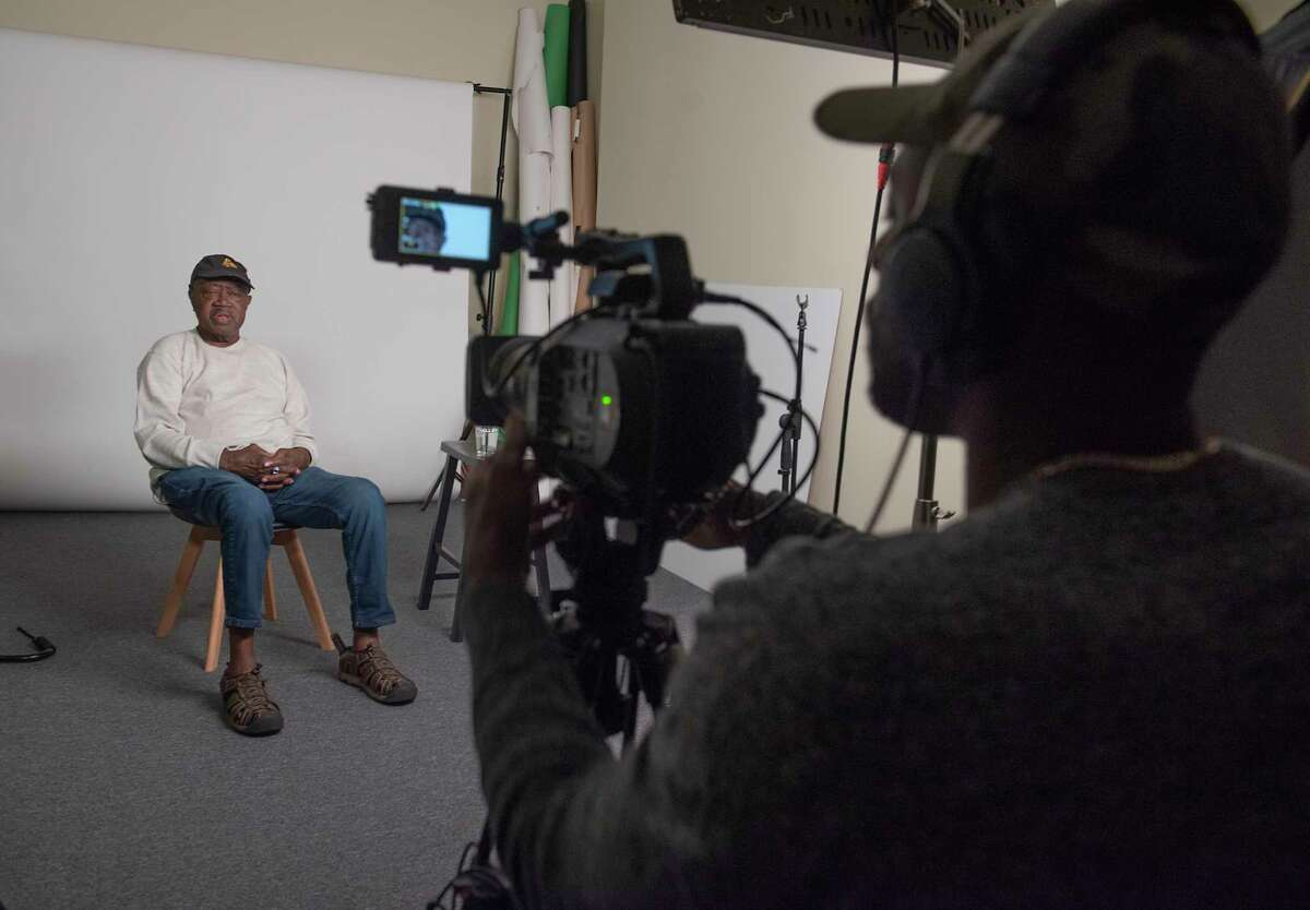 """Earl Thorpe is interviewed by Jamel Mosely, of Collective Effort, for the Hearst-wide project """"Lift Every Voice"""" on Friday, June 4, 2021 in Troy, N.Y."""
