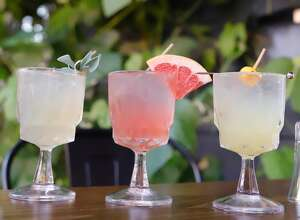 """Increasingly popular among mixologists are products from Seedlip, a British company that makes what it calls """"the world's first distilled non-alcoholic spirits."""" They're feature at Rosanna's on Dove in Albany in the cocktails called, from left, Spice, Garden and Grove. (Konrad Odhiambo/for the Times Union.)"""