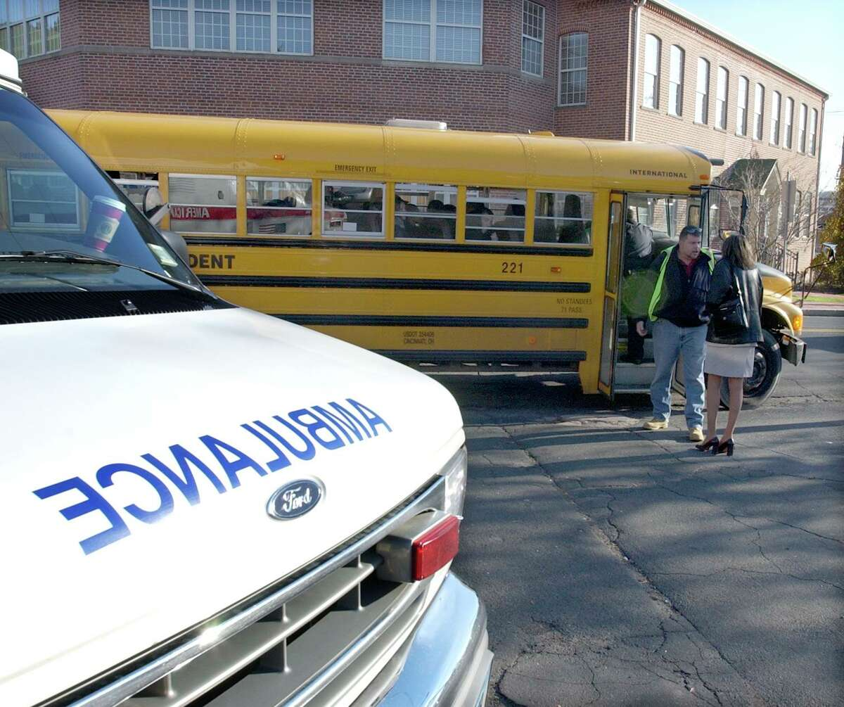 A school bus accident in New Haven.