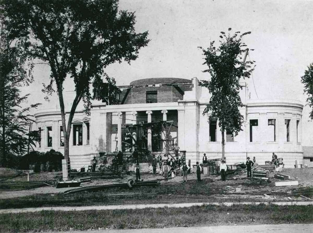 James Blackstone Memorial Library under construction some 125 years ago when it cost $600,000, an unheard of sum, according to newspaper reports from the time.