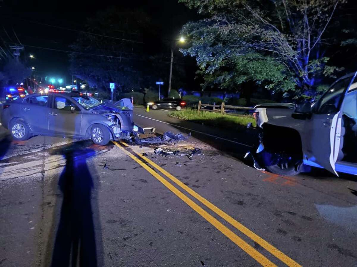 A two-vehicle collision on New Haven Road near Hazel Avenue in Naugatuck, Conn., on Monday, June 14, 2021.