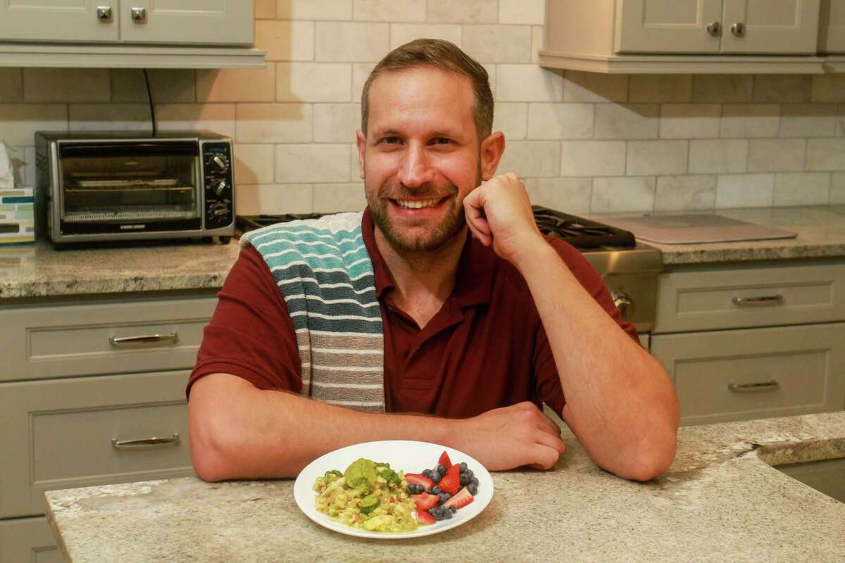 Moe Schlachter, the founder of Houston Family Nutrition and a former chef, with his Veggie Scramble, in Houston on May 5, 2021.