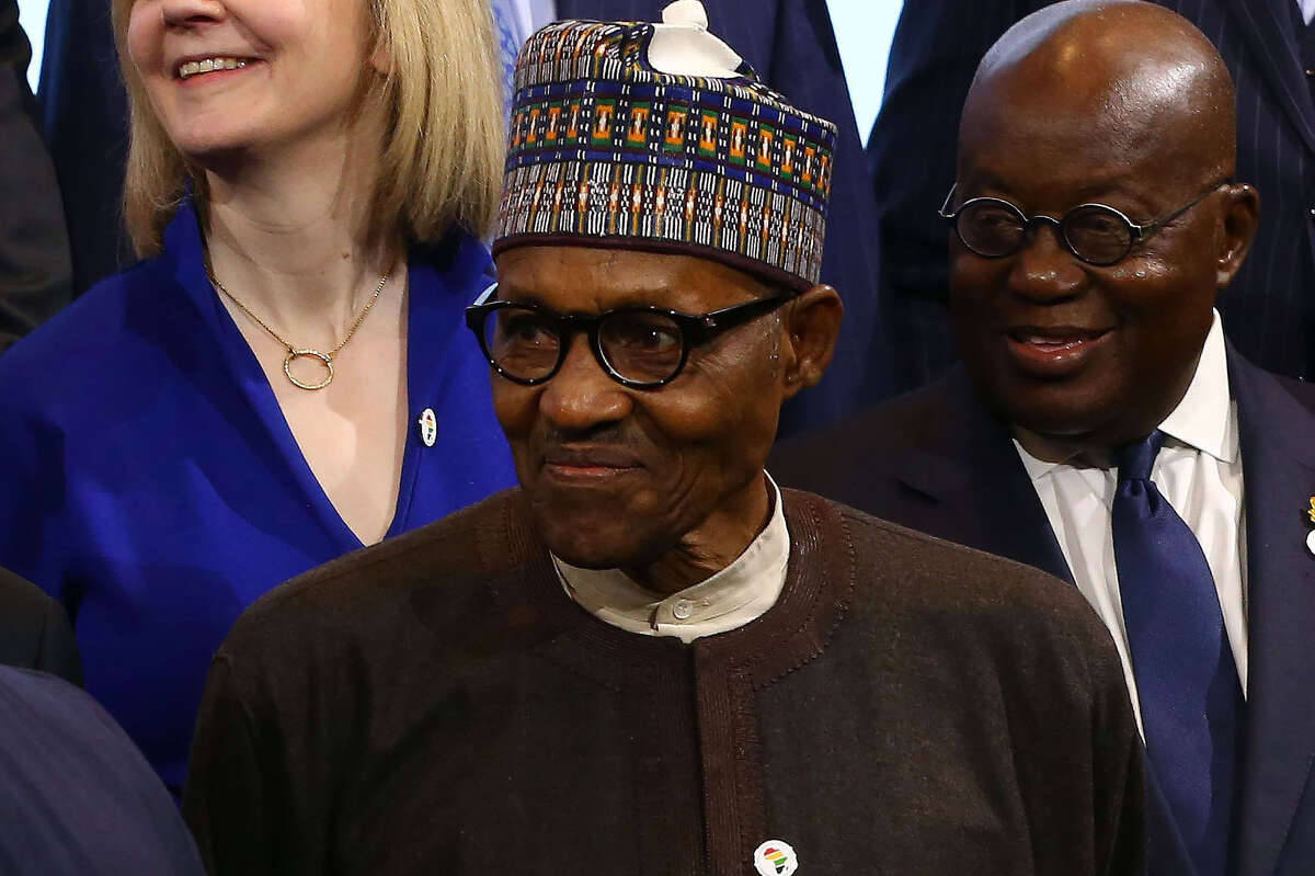 Muhammadu Buhari, Nigeria's president, at the U.K. - Africa Investment Summit in London on Jan. 20, 2020.