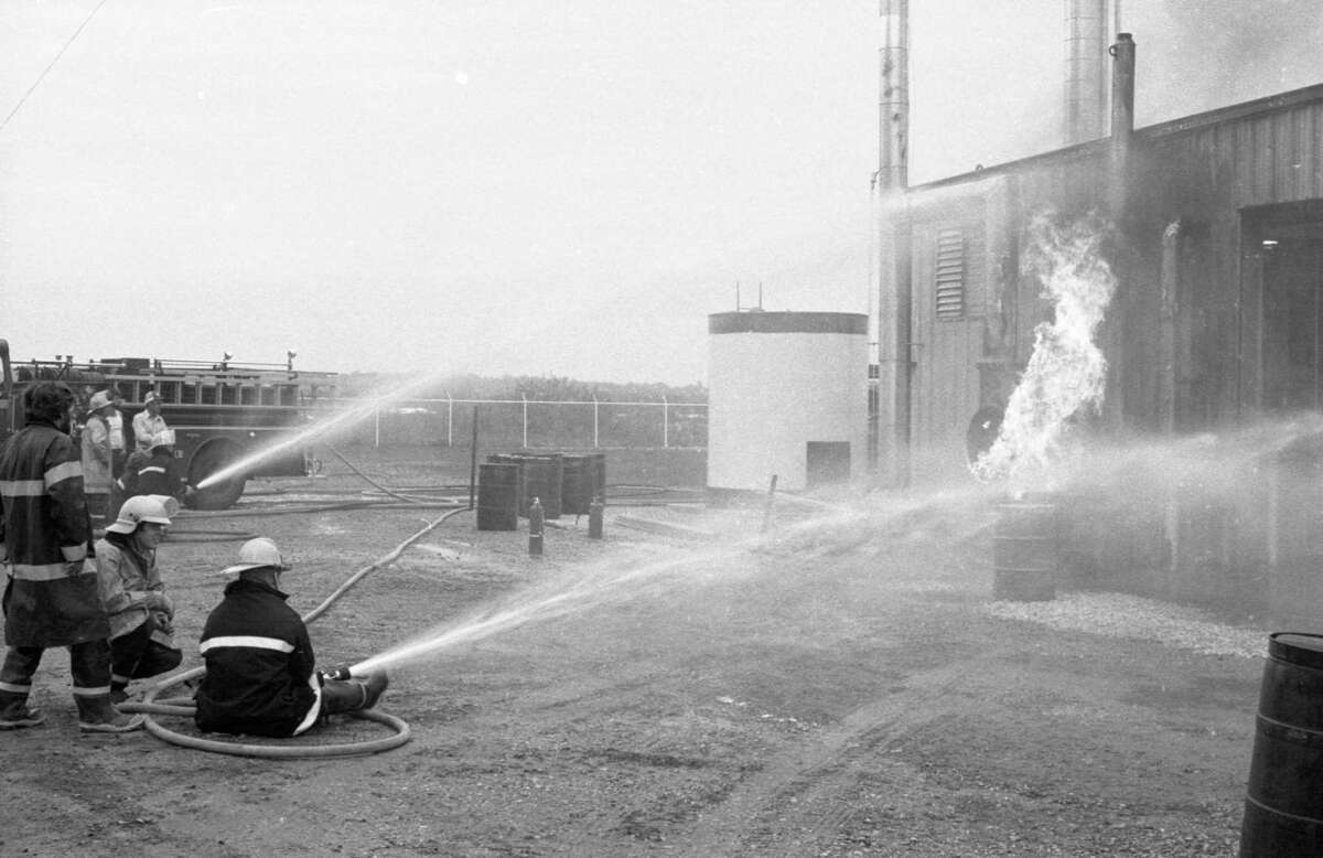 City firefighters battled a gas fire at Aztec Oil Production on North Washington Street. The photo was published in the News Advocate on June 15, 1981. (Manistee County Historical Museum photo)