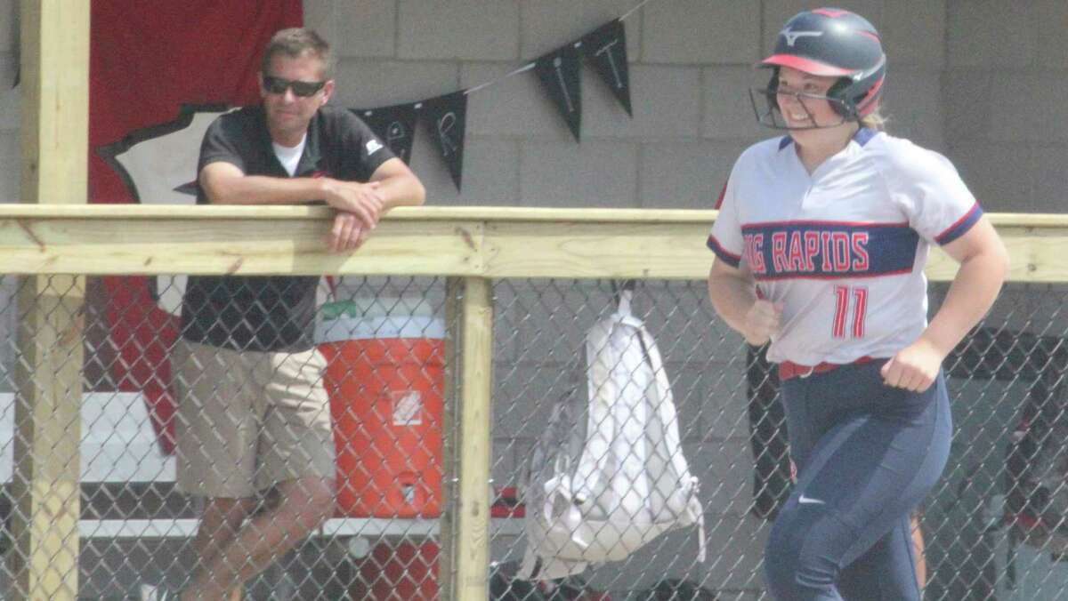 Big Rapids' Jaylynn Gray heads for home after delivering a two-run homer against Whitehall in Saturday's regional semifinal. (Pioneer photo/John Raffel)