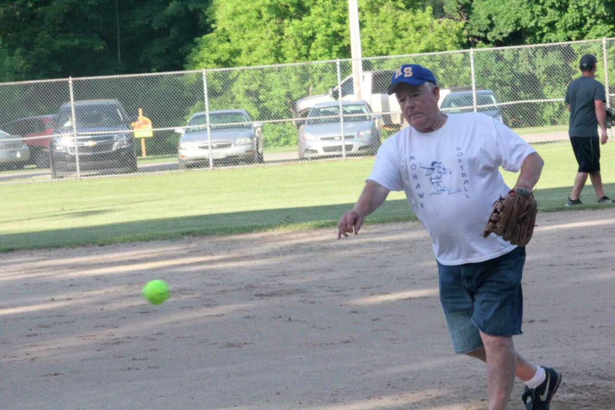 Oldtimer pitcher Bob Bulow delivers a pitch during the 2019 Fourth of July holiday game. (Pioneer file photo)