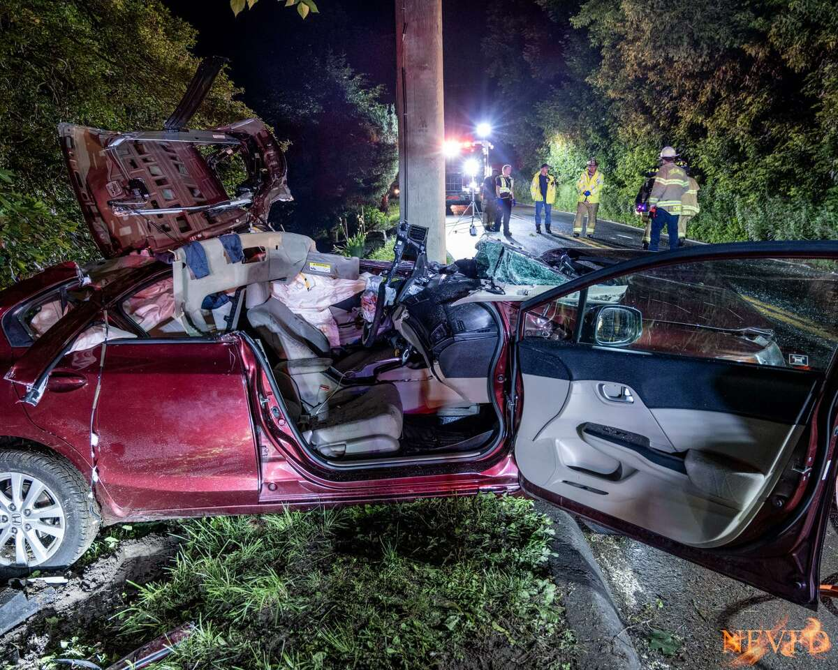 A 17-year-old driver was seriously injured in a single-vehicle crash on Route 39 in New Fairfield the evening of June 14, 2021.