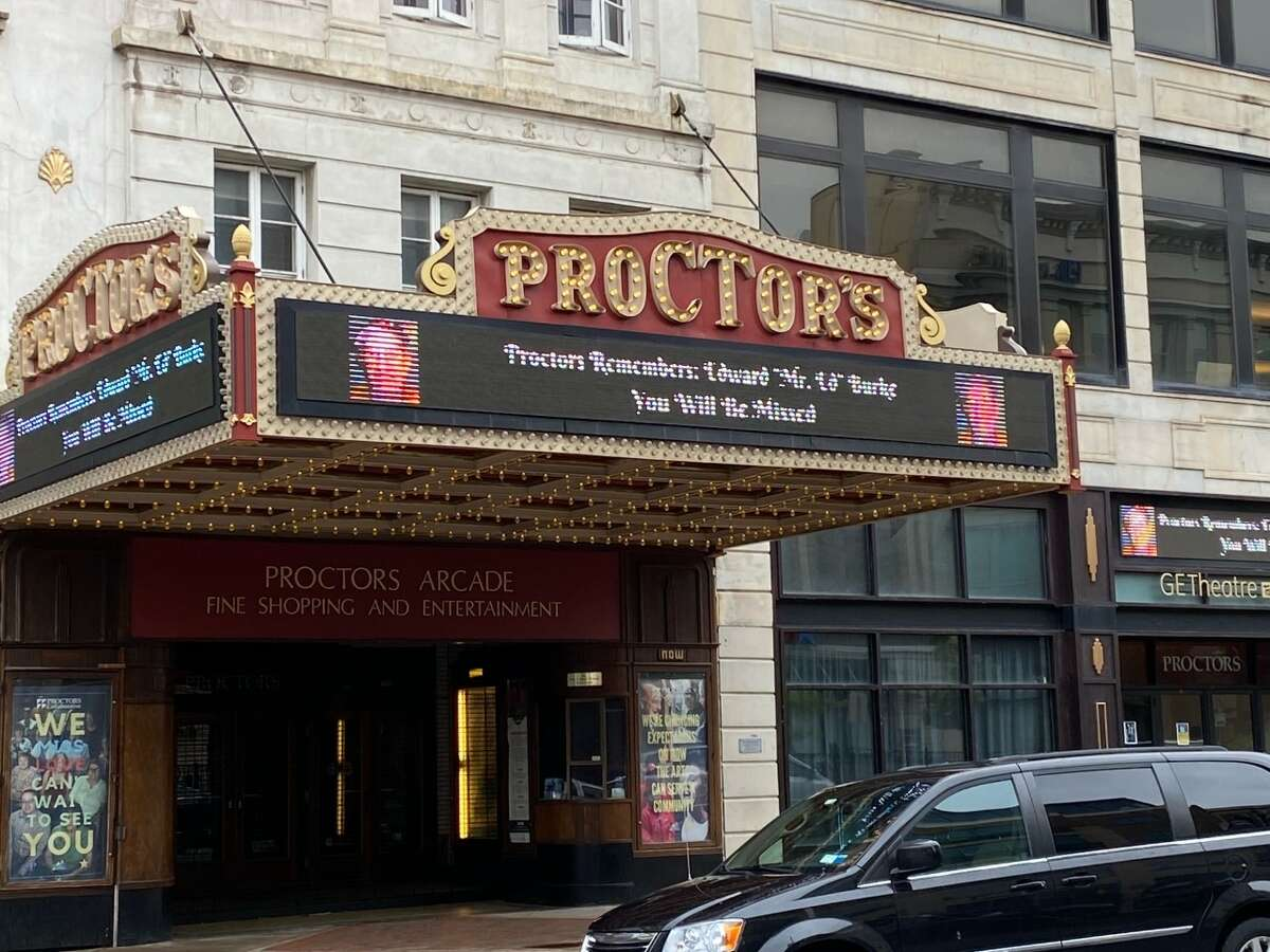 Longtime Proctors employee Edward J. Burke, who died on June 7, 2021, was honored on the venue's marquee in downtown Schenectady on Monday, June 14, 2021.