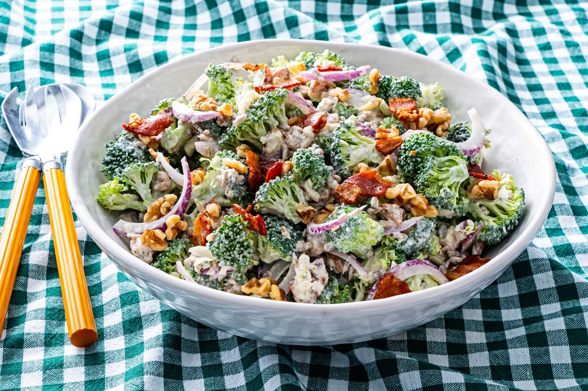 This broccoli and bacon salad is creamy, salty, nutty and made for summer days