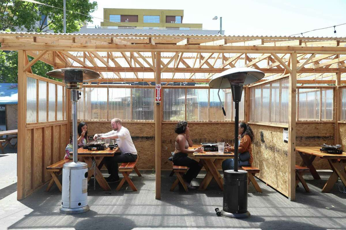The outdoor dining area at Gogi Time in Oakland.