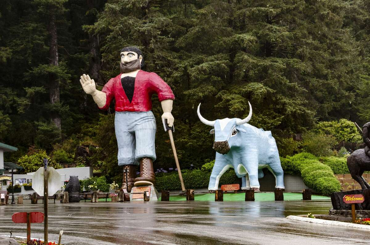 Paul Bunyan and Babe the Blue Ox with pandemic masks at the Trees of Mystery in Northern California.