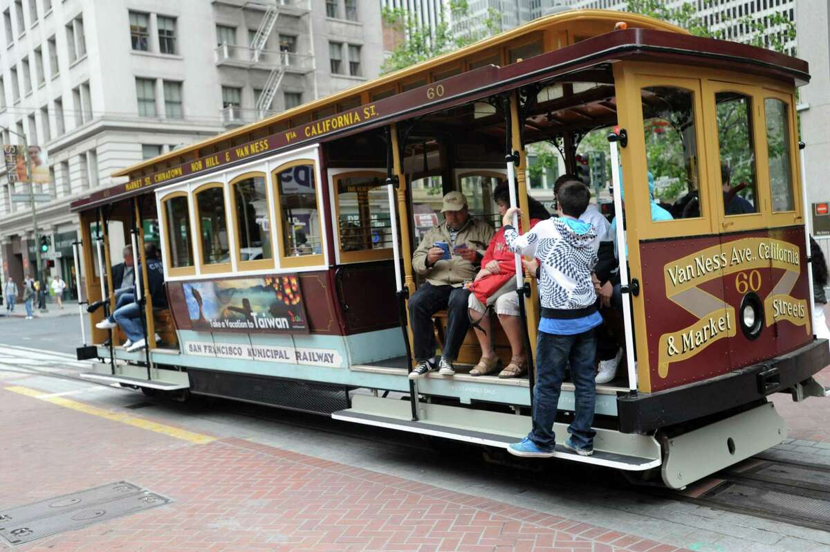 The California Street cable car rolls in San Francisco in 2011.