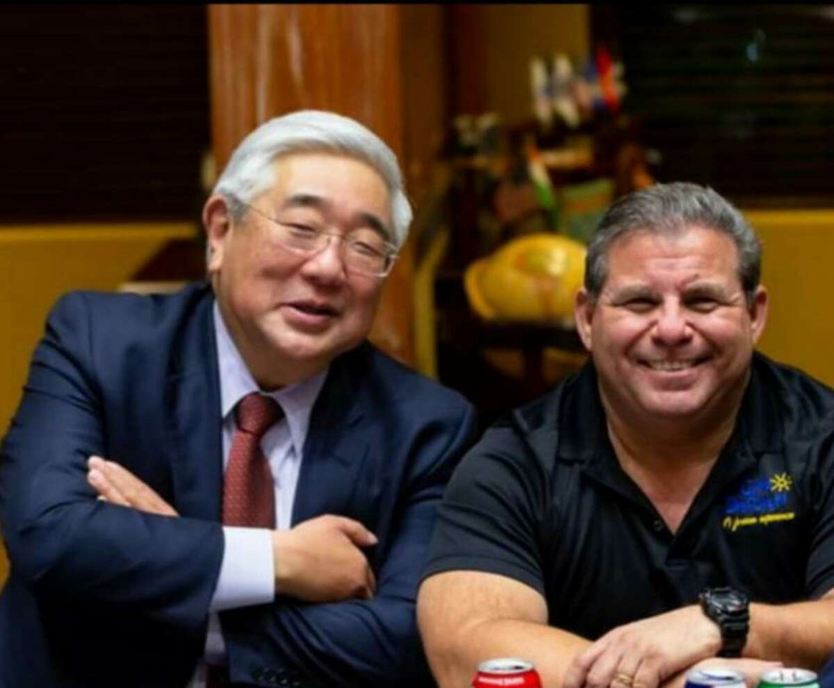 Judge Peter Sakai, left, remembers the selfless service of Joey Cavazos, Executive Director of Camp Discovery. Since his 2013 diagnosis of Lynch Syndrome, a genetic disorder, Cavazos fought several bouts of cancer. He died May 17 from glioblastoma, malignant brain cancer.