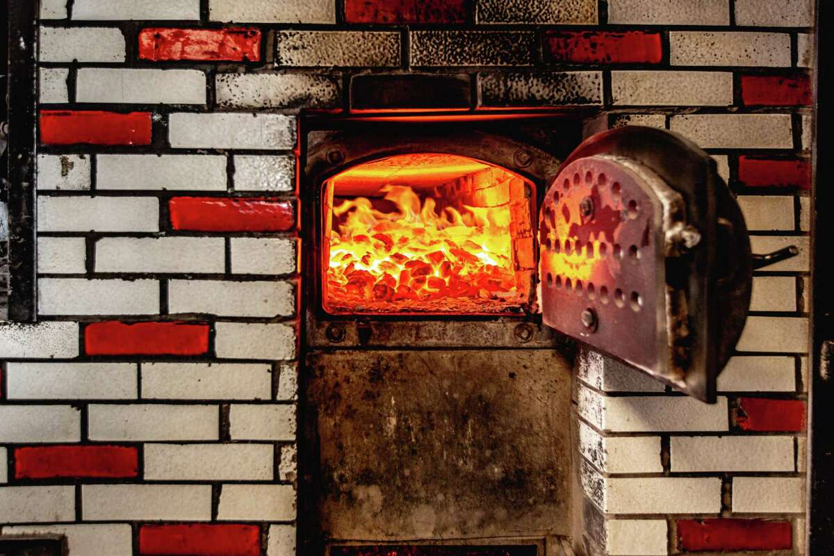 The hot coals that fire the oven at Sally's Apizza in New Haven