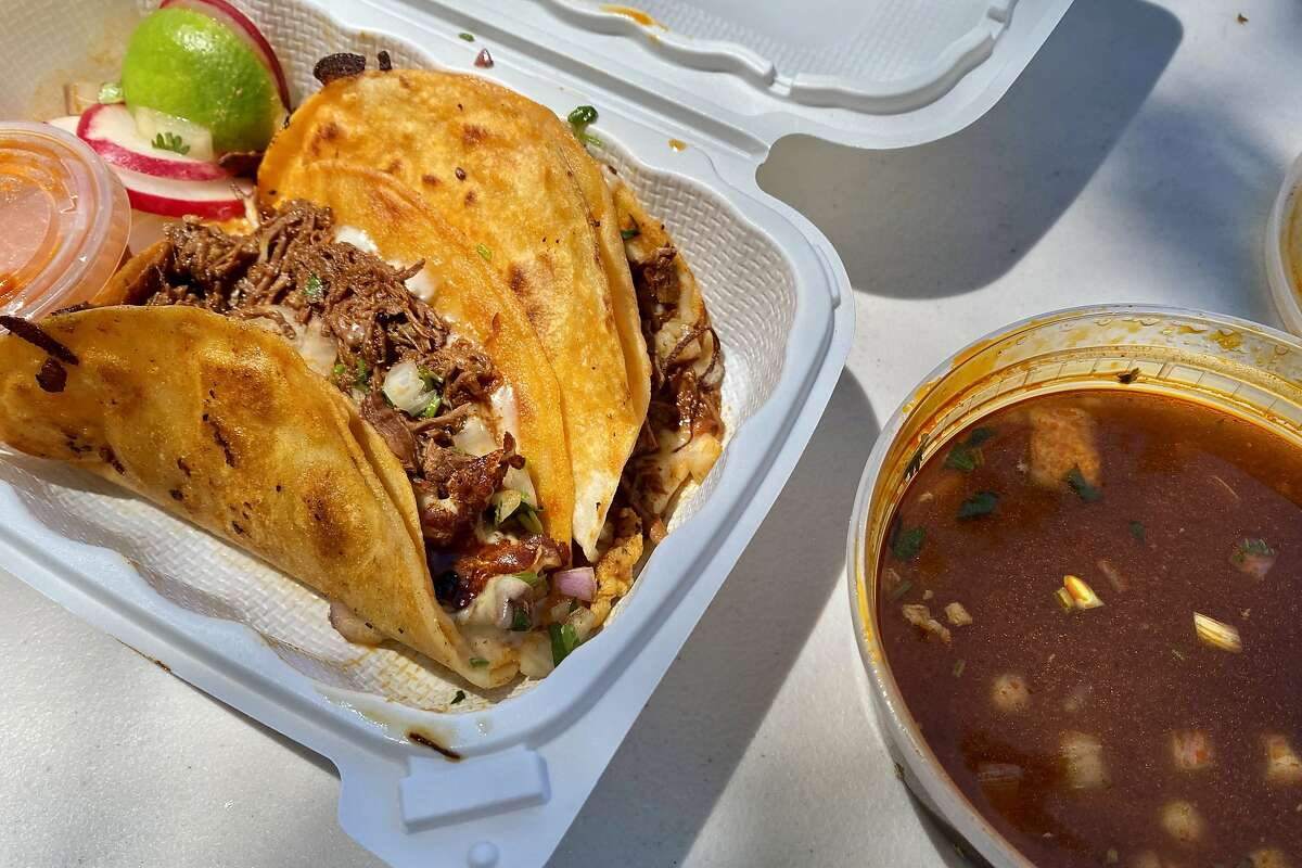 Halal birria tacos with consommé from Habibi's Birria, which opened inside a Hayward gas station in September.