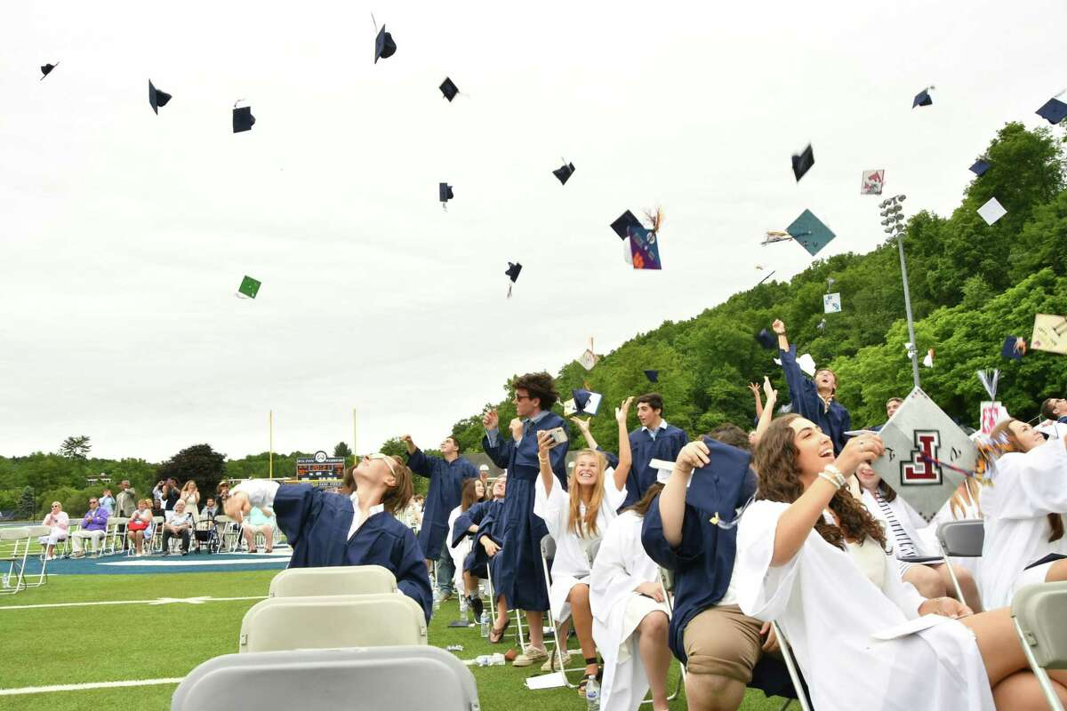 Seniors tossed their caps at Tom Fujitani Field on June 12 after making their graduation, capping off an unprecedented school year.