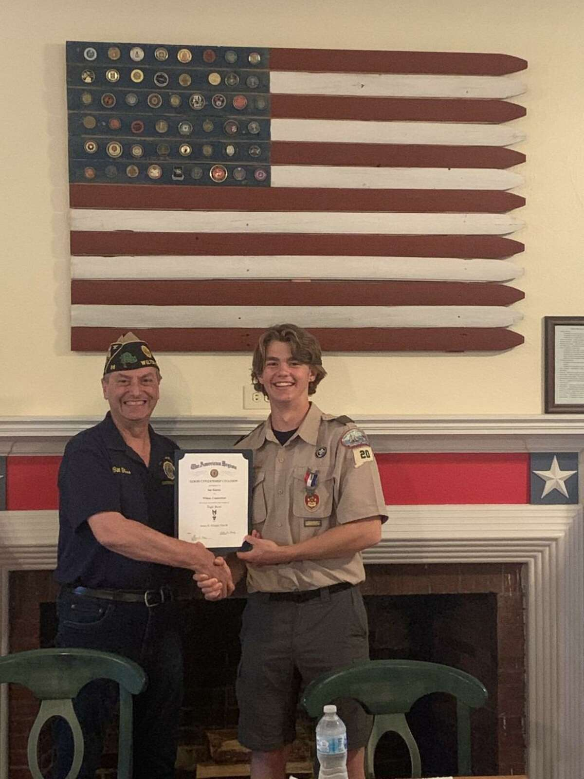 New American Legion Post 86 in Wilton officers were recently elected during the Post's regular meeting, June 8, 2021, for the Post's upcoming year, 2021-2022. At the same meeting, Wilton Troop 20 Eagle Scout Ian Kineon received The American Legion's Good Citizen Award for attaining the rank of Eagle Scout. Kineon's final project was to build the Post's Post 86 fire pit, where the members of the Post retire American Flags each year during a respectful, and solemn ceremony. The Post is sponsoring a collection of goods for the men, and women of the veterans organization, the Homes for the Brave / PFC Nicholas Madaras Homes for homeless veterans, in Bridgeport, from Saturday, July 17, through Saturday, July 24, at the Post.