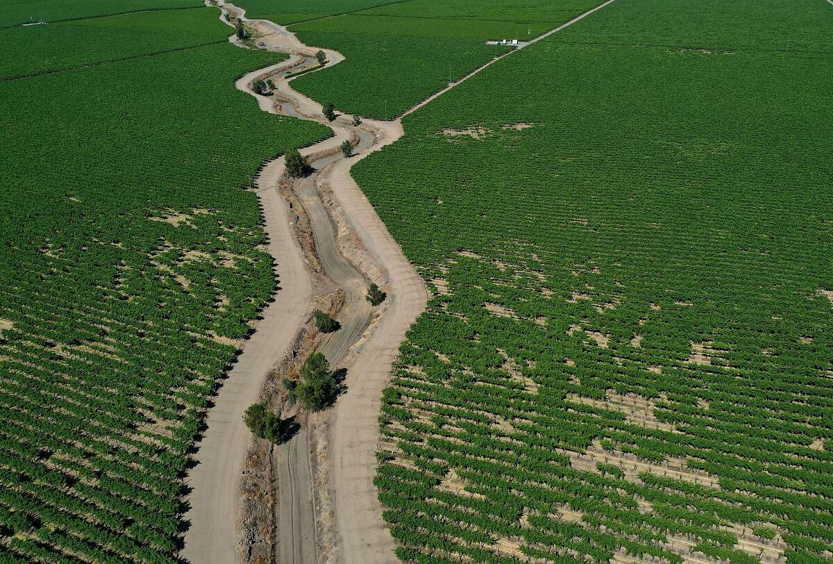 A dry irrigation canal runs between almond orchards in Madera. Central Valley farmers are facing a summer without surface water supplies.