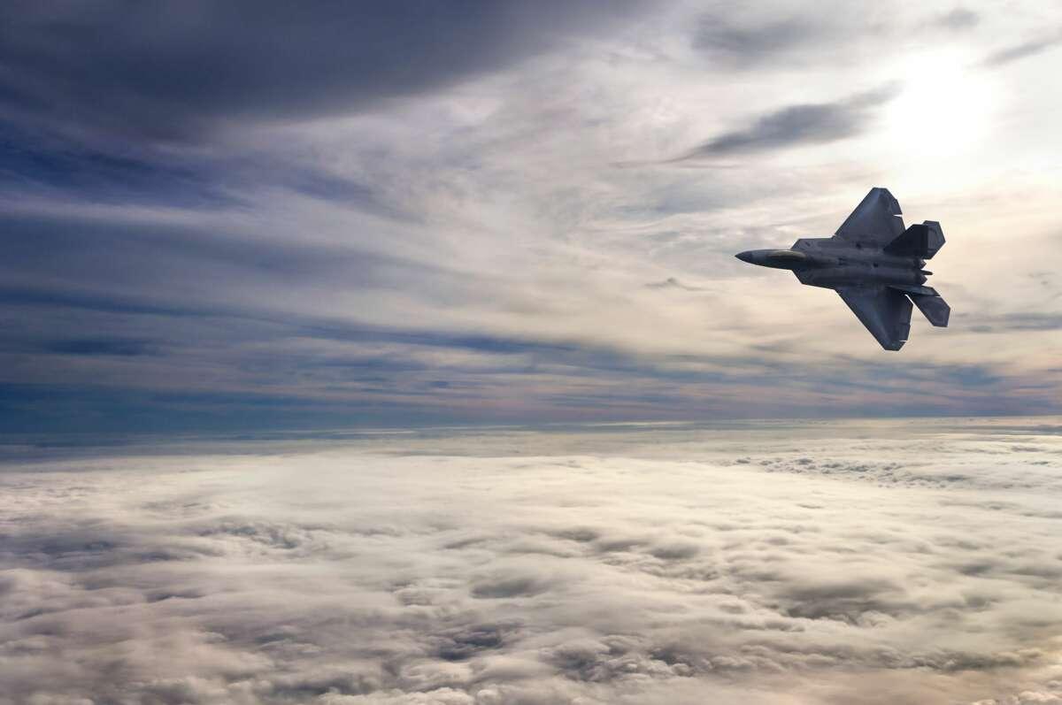 An F-22 fighter jet.
