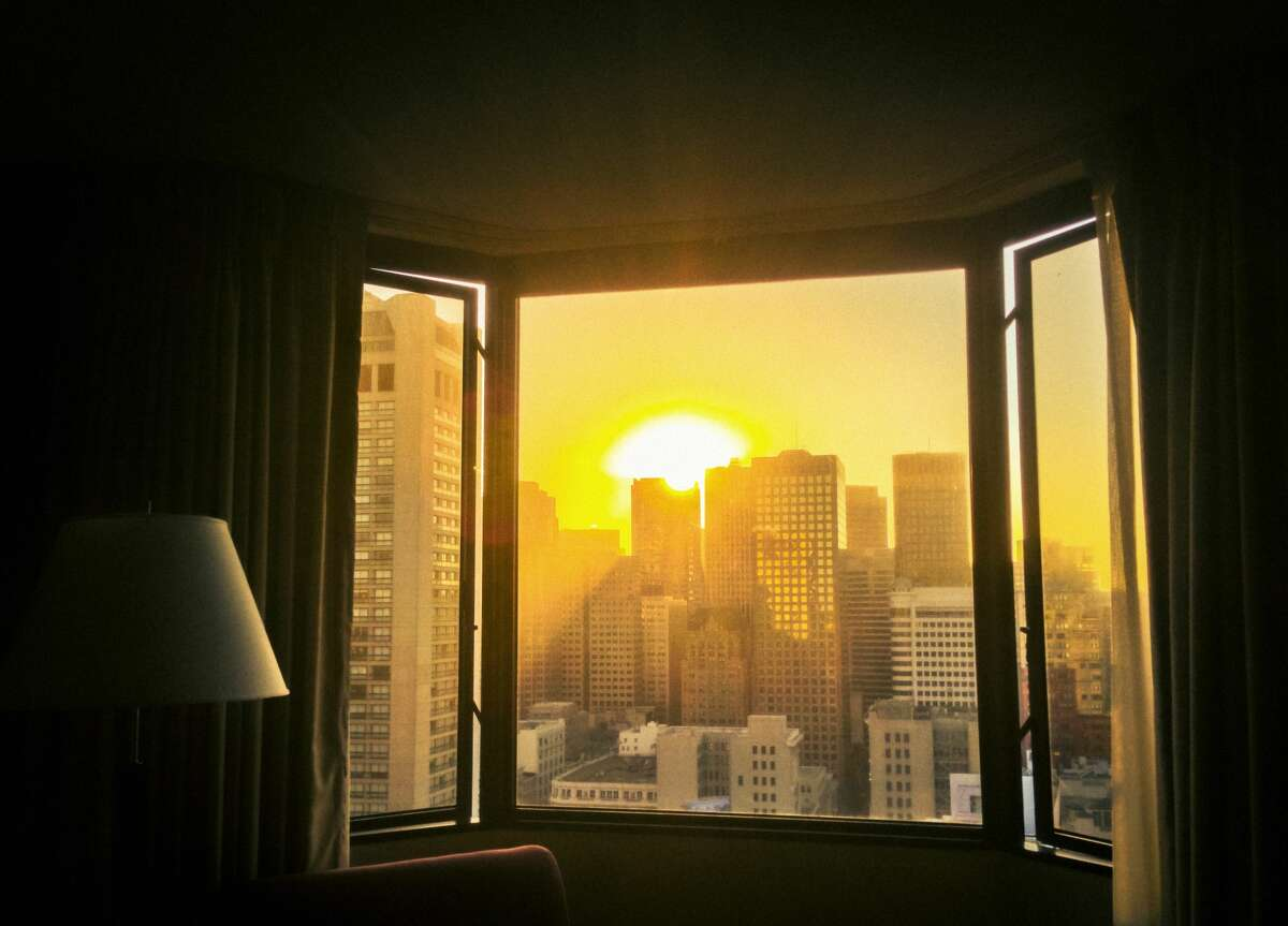 View on sunny San Francisco from hotel room
