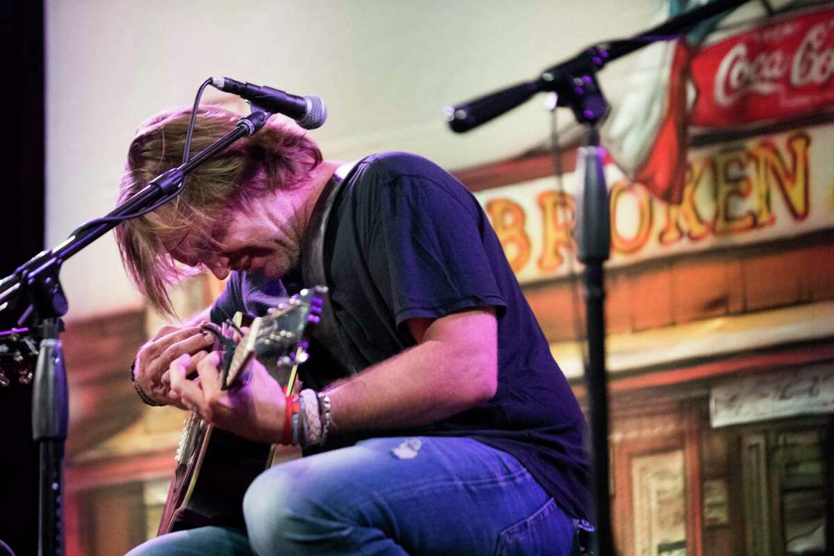 """Country music artist, Jack Ingram performs a set of songs from the film """"Blaze,"""" Sunday, Aug. 12, 2018, in Houston."""