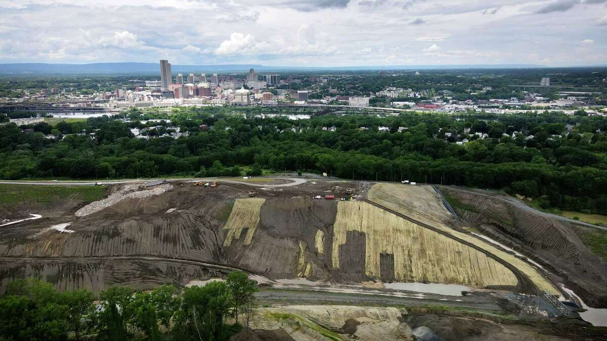 The SA Dunn landfill is seen from above Partition Street Extension on Tuesday, June 15, 2021, in Rensselaer, N.Y. . (Will Waldron/Times Union)