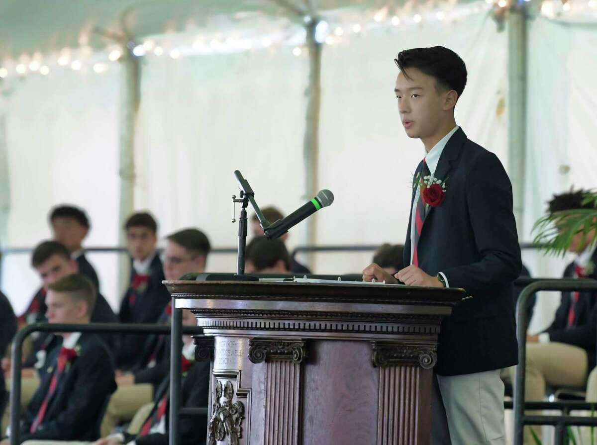 Albany Academy valedictorian, Alex Li, speaks at his graduation ceremony on Tuesday, June 15, 2021, in Albany, N.Y. (Paul Buckowski/Times Union)