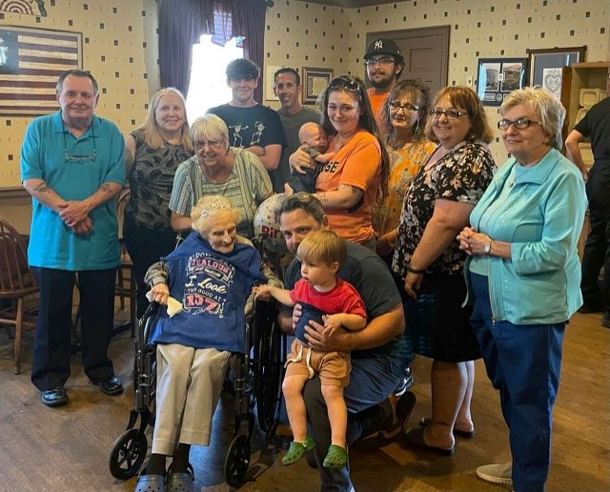 Mildred Howarth of Menands celebrated her 107th birthday on Sunday, June 13, with a dinner at Valente's restaurant in Watervliet. She also had her 100th and 105th birthdays there. She lived in her house in Menands for 95 years until she had to go to Elderwood of Colonie last year. She retired from Montgomery Ward in Menands over 45 years ago. This picture is of Mildred and her nieces and nephews, representing five generations.