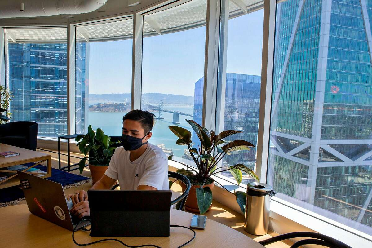 Peter Koe, a software engineer at Overflow, works in the Salesforce building in downtown San Francisco, Calif on June 15, 2021.