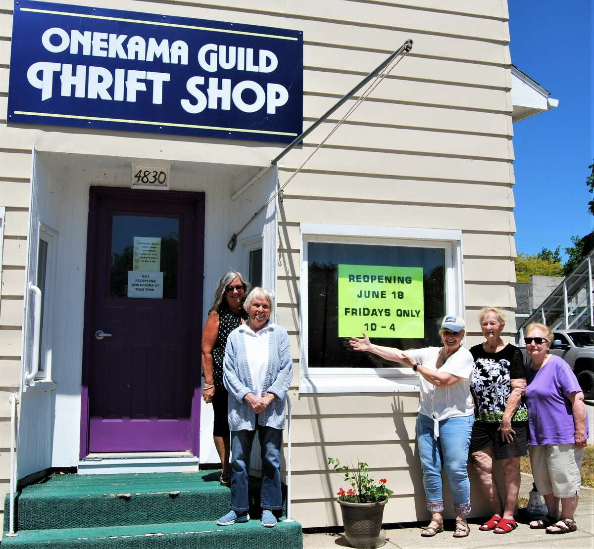 Onekama Guild members, eager to open the shop for 2021, pictured (from left to right) are Susan Halloran, Marcia Korwin, Suzanne Schwing, Becky Kline and Sue Kahl.