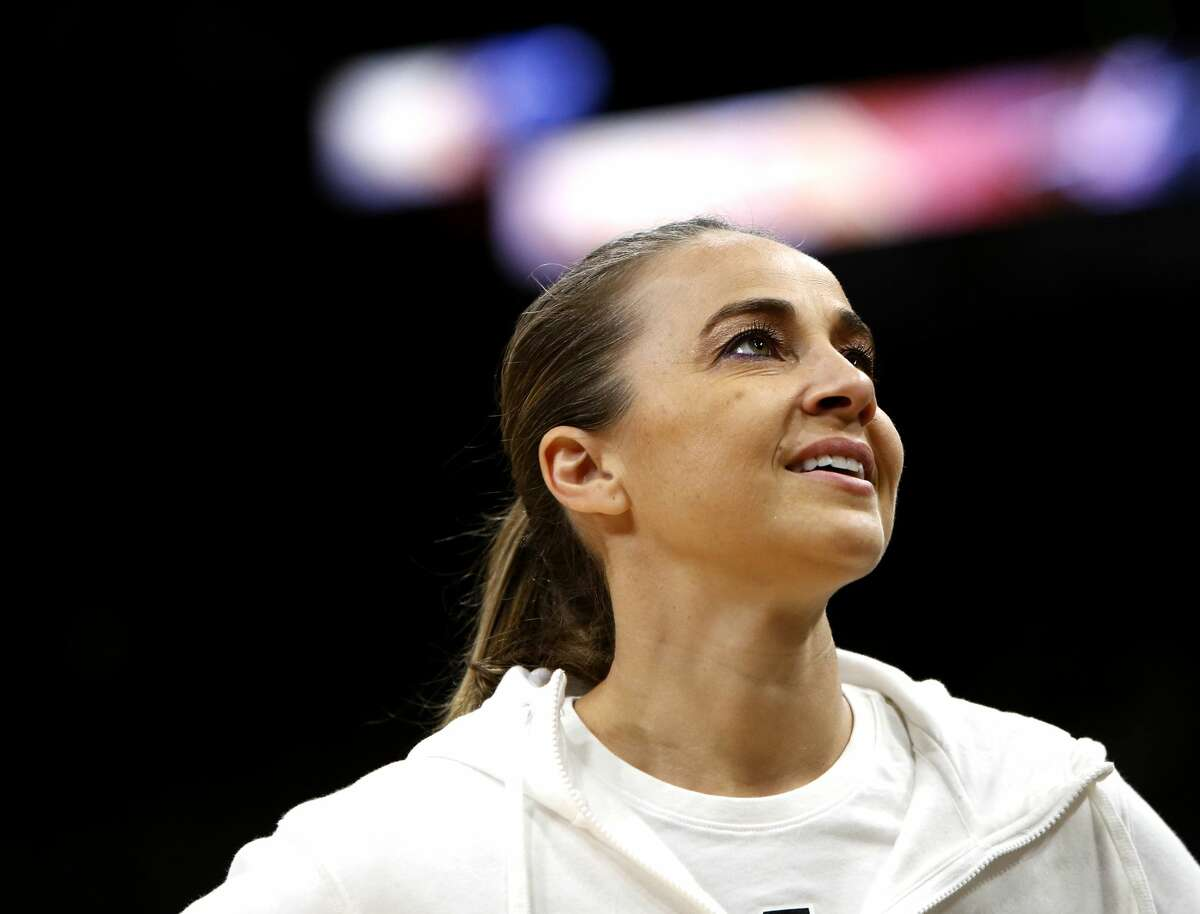SAN ANTONIO, TX - NOVEMBER 30: San Antonio Spurs assistant coach Becky Hammon pauses during warmups before an NBA game against the Houston Rockets held November 30, 2018 at the AT&T Center in San Antonio, Texas. (Photo by Edward A. Ornelas/Getty Images)