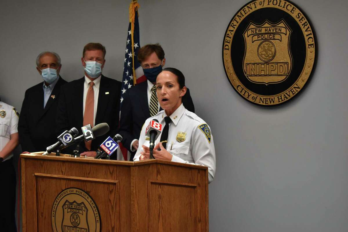 Local officials announced the creation of a new regional shooting task force Tuesday at the New Haven Police Department. Here, New Haven police Acting Chief Renee Dominguez speaks.
