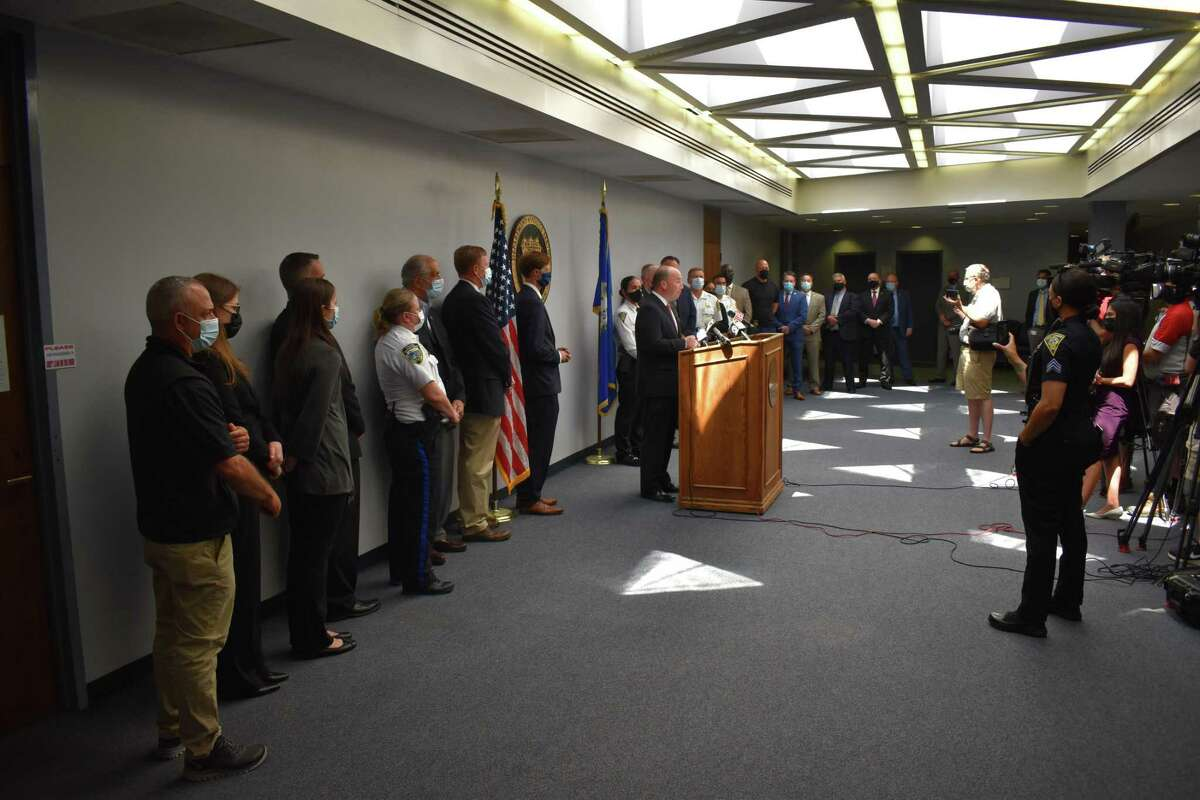Local officials announced the creation of a new regional shooting task force Tuesday at the New Haven Police Department.