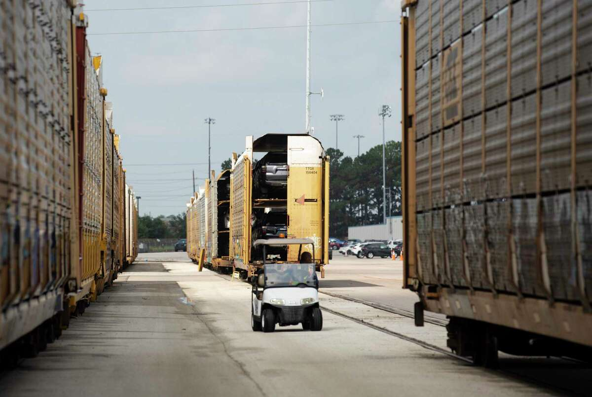 Gulf States Toyota's rail offloading site is photographed Wednesday, May 26, 2021, in Houston. Vehicles arrived the site via frieght train.