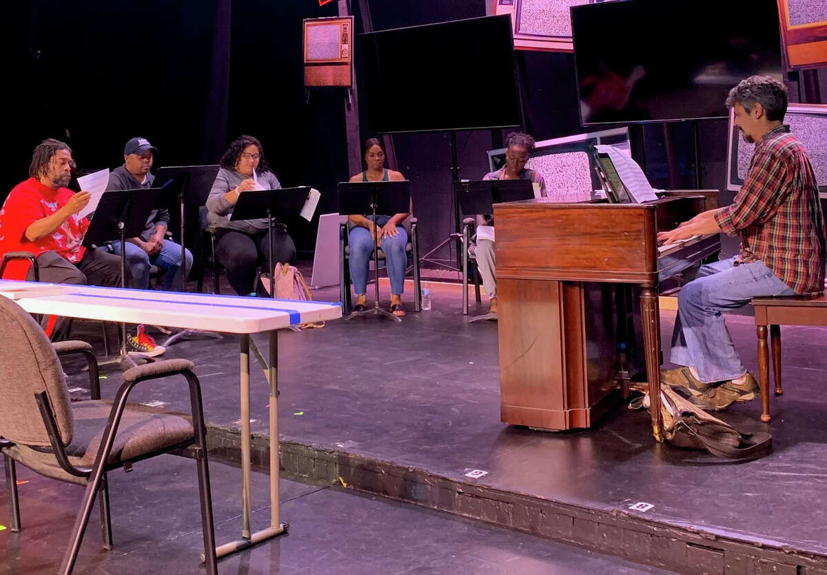 """Cast members of the Playhouse Stage Company production of the musical """"Ain't Misbehavin'"""" rehearse on Monday, June 14, 2021, with the show's music director, Brian Axford (at piano). """"Ain't Misbehavin'"""" is the main Park Playhouse production this summer at Albany's Washington Park Lakehouse amphitheater. It runs July 6 to 24. (Provided photo.)"""