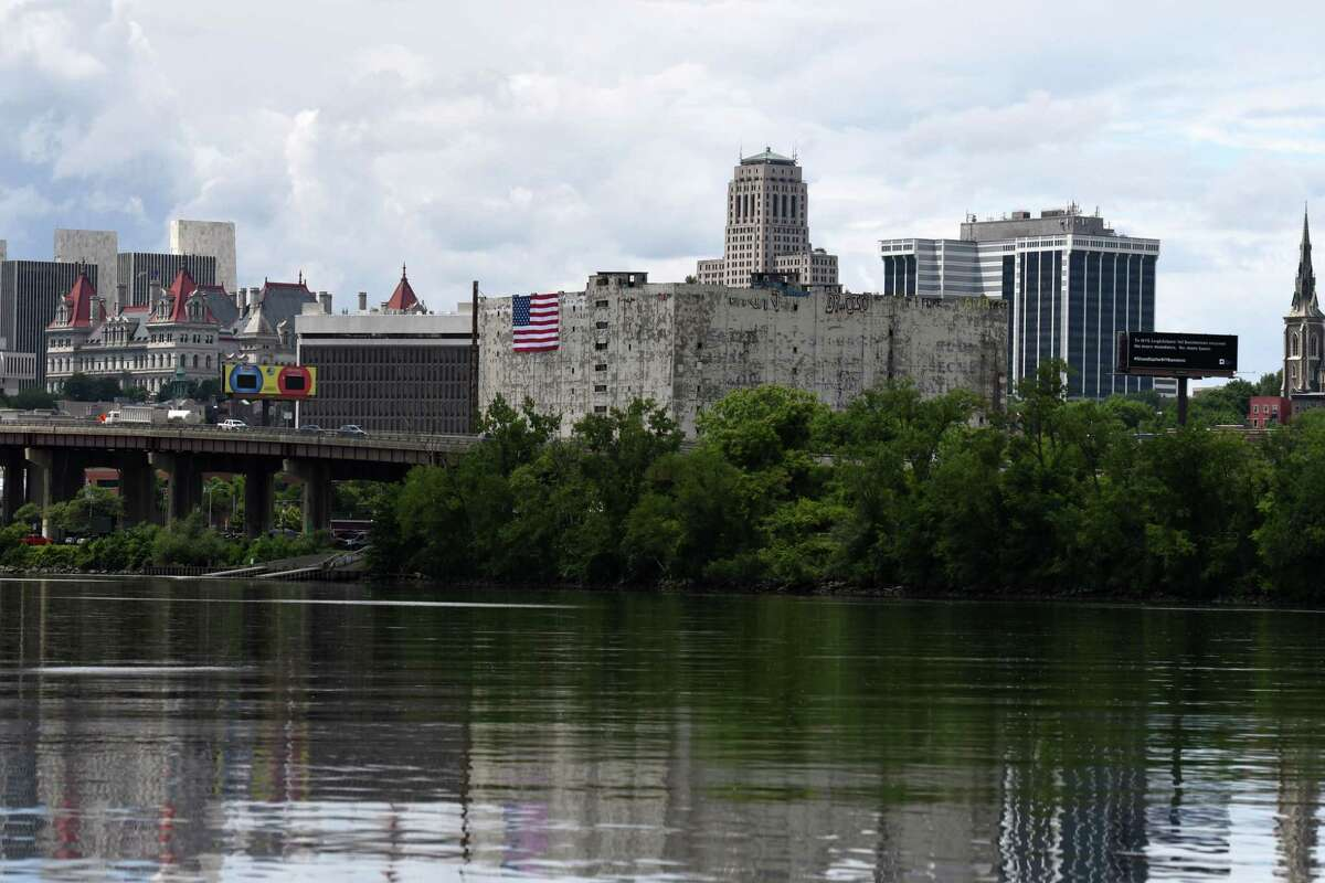 Albany's Central Warehouse is seen from Hilton Park across the Hudson River on Tuesday, June 15, 2021, in Rensselaer, N.Y. (Will Waldron/Times Union)