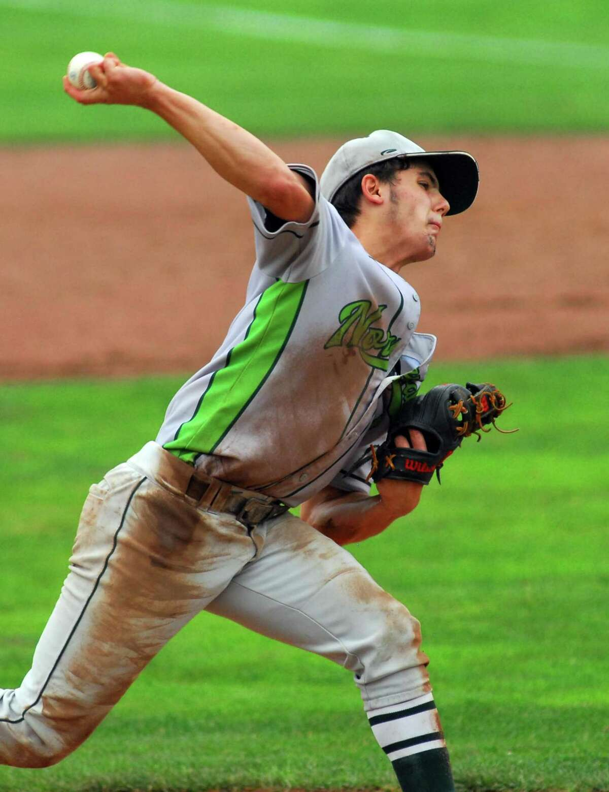 Norwalk's Javier Gonzalez pitches against Westhill during the Class LL state championship game Saturday.