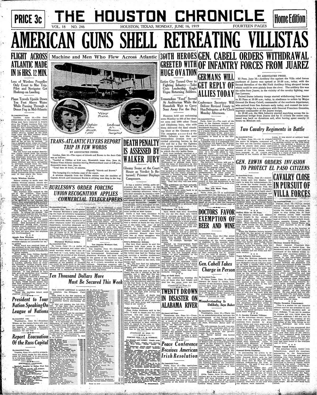Houston Chronicle front page for June 16, 1919.