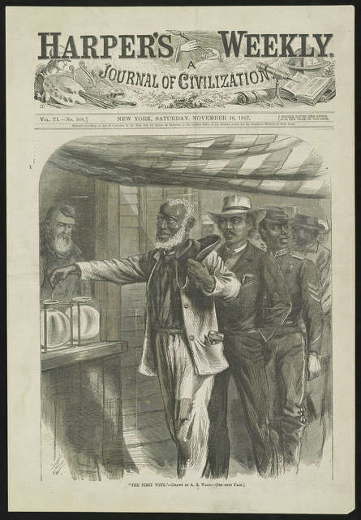 """The cover of Harper's Weekly depicts the first black voting. The image is part of """"Voices and Votes: Democracy in America,"""" a traveling exhibit that is part of the Smithsonian Institution's """"Museum on Main Streets"""" program."""