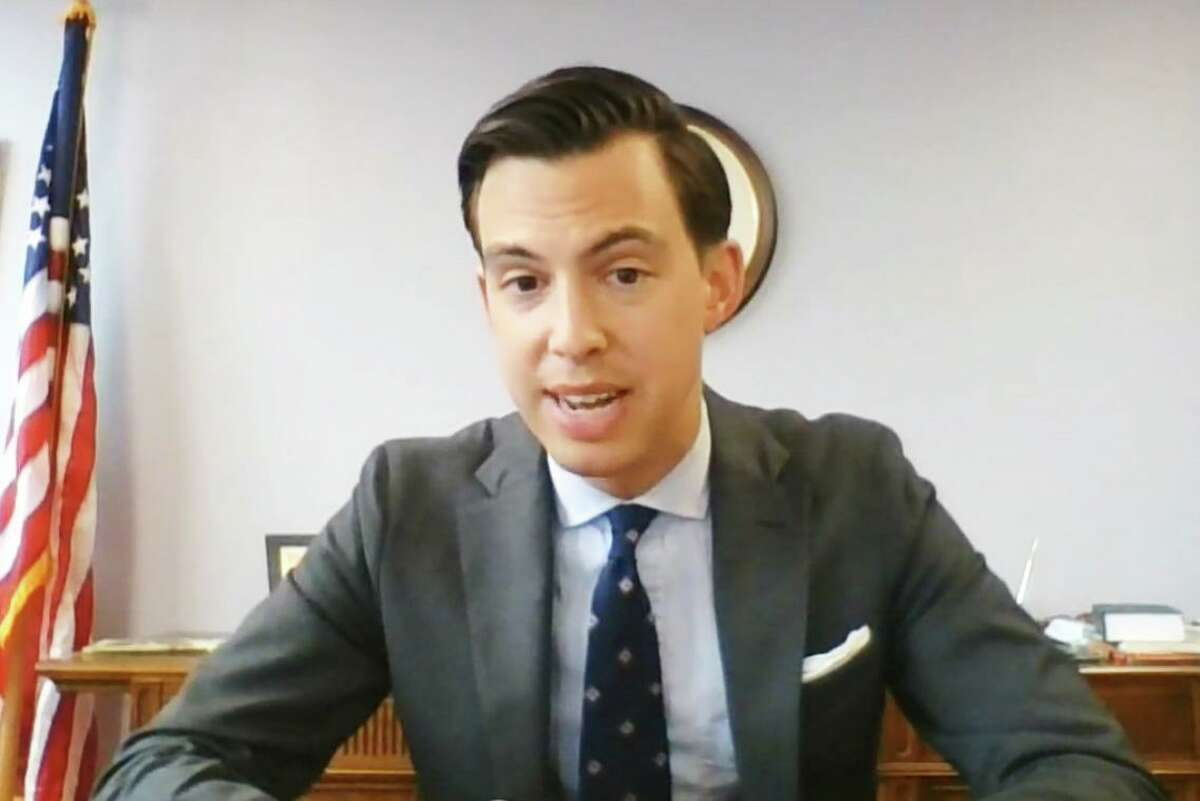 Middletown Mayor Ben Florsheim speaks on Facebook Live Monday night, explaining the 2021-22 city budget proposal the Common Council approved later that evening by 11-0.