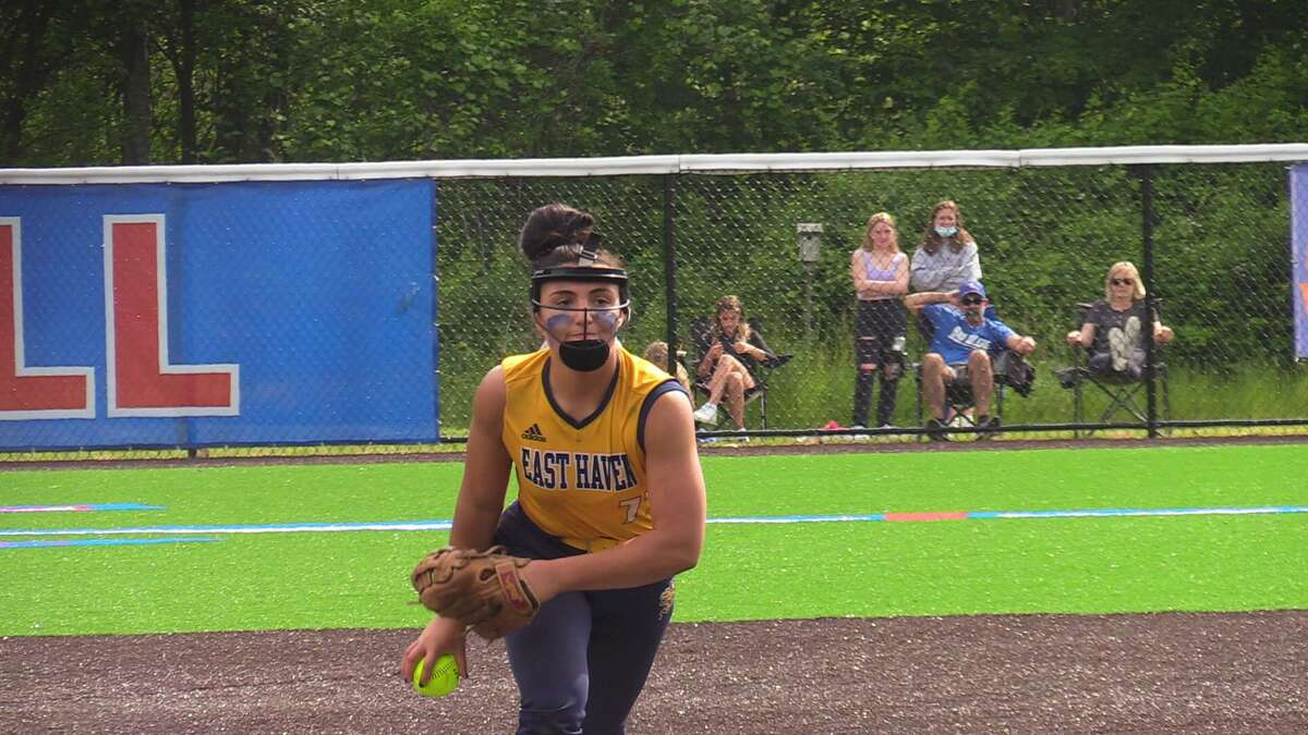 East Haven's Emilee Bishop pitches against Waterford during the Class L quarterfinals on June 4.