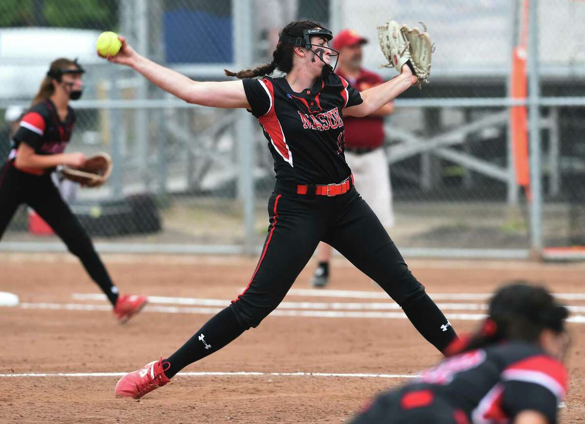 Masuk's Kathryn Gallant pitches a shutout against St. Joseph in the Class L Championship in Stratford on Saturday.