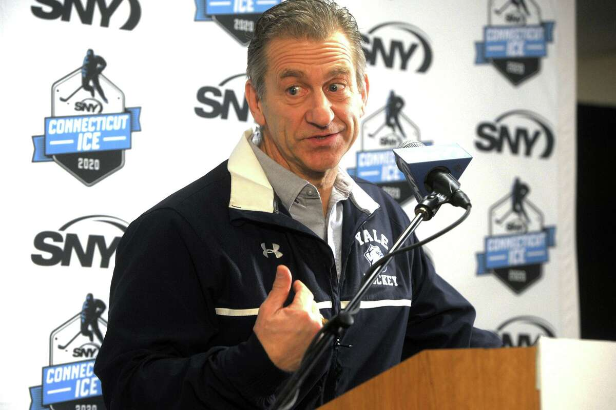 Yale hockey coach Keith Allain speaks at a press conference at Webster Bank Arena, in Bridgeport, in 2019.
