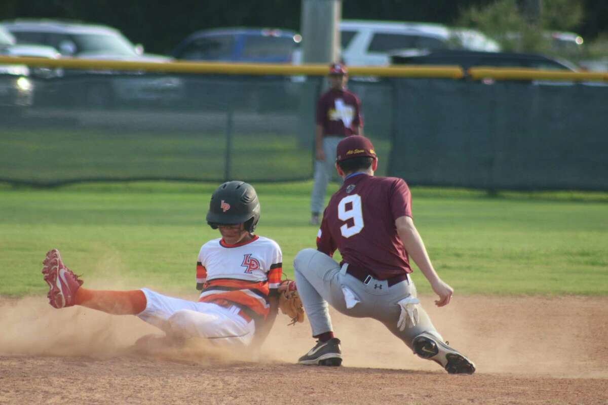 Deer Park Bronco all-star Anthony Rojas applies the late tag on a La Porte runner during the first Directors Tournament championship game at Friendswood's Renwick Park Monday night. La Porte stole six bases en route to the 6-2 win, only to lose the IF title game 7-2.