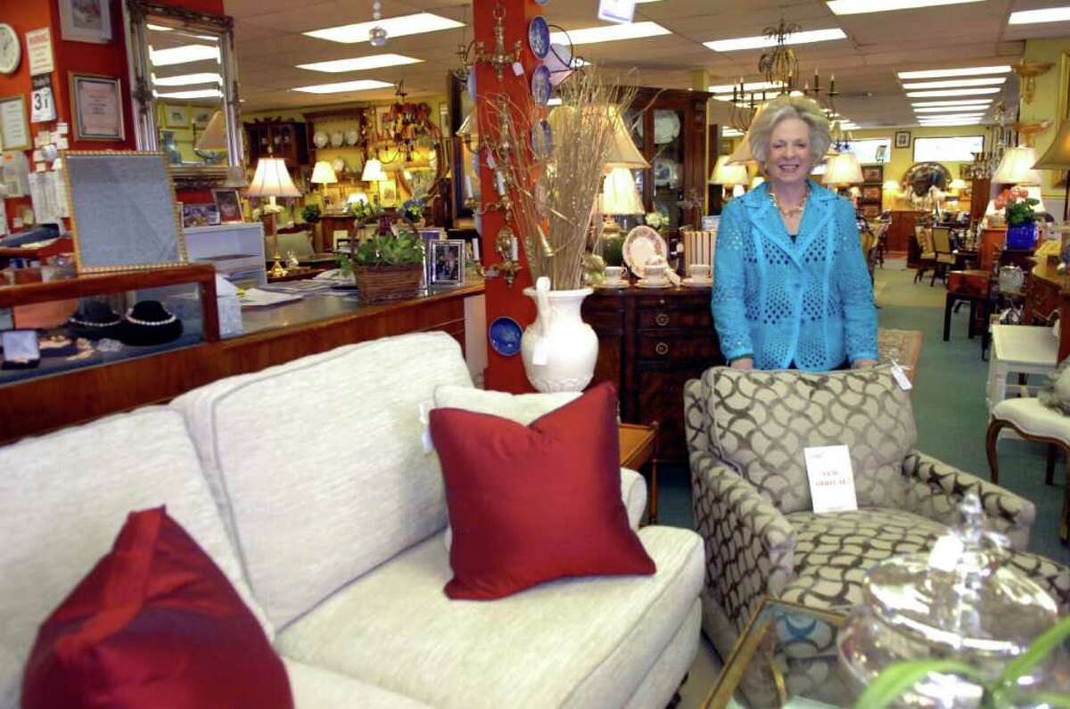 Harriet Roughhan, owner of Estate Treasures, with pieces of modern furniture in her shop, in Greenwich, on Tuesday, Aug. 31, 2010.
